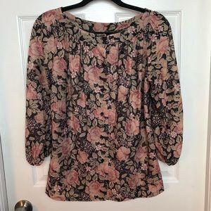 Vintage floral semi sheer blouse